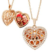 "With You Lockets™ Rose Gold-Plated ""Mary"" White Topaz Heart Locket"