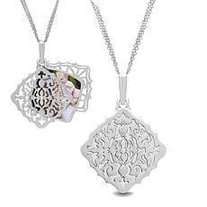 "With You Lockets™ Sterling Silver .014ctw Diamond ""Mimi"" Photo Pendant"