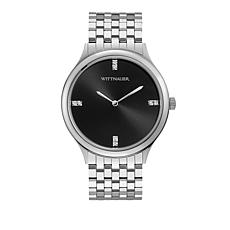"Wittnauer Men's ""Black Tie"" Diamond Marker Silvertone Watch"