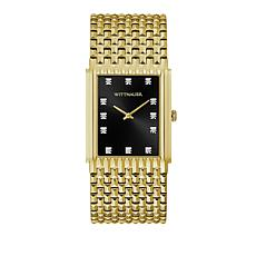Wittnauer Men's Diamond Goldtone Black Rectangular Dial Watch