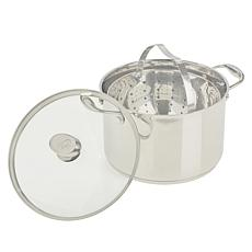 Wolfgang Puck 7qt Stainless Steel Pot w/Strainer & Tempered Glass Lid