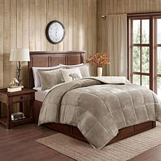 Woolrich Alton 3-piece Taupe/Ivory Plush to Sherpa Twin Comforter Set