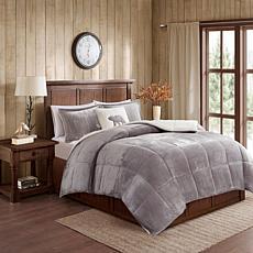 Woolrich Alton 4-piece Gray/Ivory Plush to Sherpa King Comforter Set