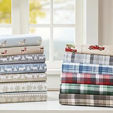 Woolrich Cotton Flannel Brown Sheet Set - Queen