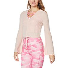 WVVY Cinched Tie-Front Bell-Sleeve Top