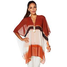 WynneLayers Abstract Print Convertible Chiffon Poncho
