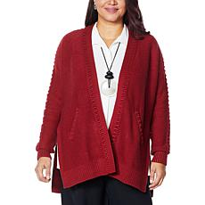WynneLayers Barrel-Stitch Sweater Cardigan