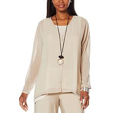 WynneLayers Boyfriend Button-Front Sheer Cardigan