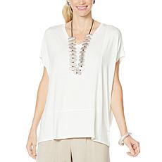 WynneLayers Cap-Sleeve Panel Knit Top