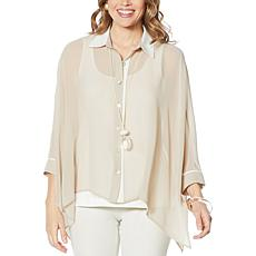 WynneLayers Colorblock Unstructured Mixed Media Shirt
