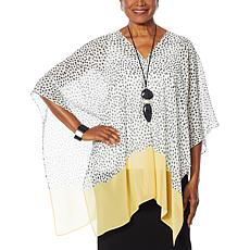 WynneLayers Dot Print Convertible Chiffon Poncho