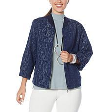WynneLayers Jacquard Knit Bomber Jacket