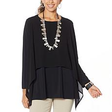 WynneLayers Long-Sleeve Layered Front Mixed Media Top