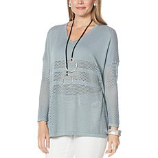 WynneLayers Mesh-Detail Unstructured V-Neck Sweater