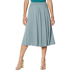WynneLayers Pleated Knit Midi Skirt