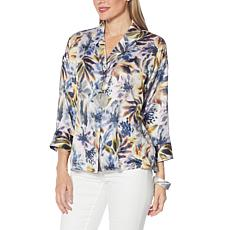 WynneLayers Print Pebbled Satin Button-Up Shirt