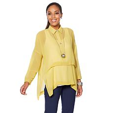 WynneLayers Pullover Blouse with Front Pleat
