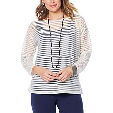 WynneLayers Sheer Stripe Bateau Neck Pullover