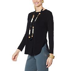 WynneLayers Shirttail Hem Knit Top with Back Pleat