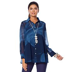 WynneLayers Smoke-Print Chiffon Shirt