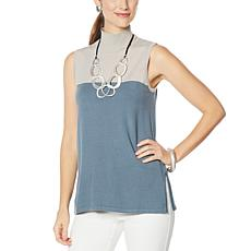 WynneLayers Soft Knit Sleeveless Colorblock Tunic