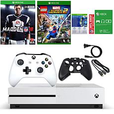 Xbox One S 4K 500GB Console with 2 Games and Sleeve