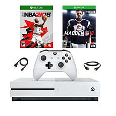 "Xbox One S 500GB 4K Console w/""Madden NFL '18"" and ""NBA 2K18"" Games"