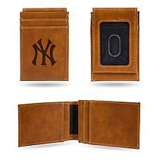 Yankees Laser-Engraved Front Pocket Wallet - Brown