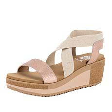Yellow Box Janalee Leather and Fabric Platform Sandal