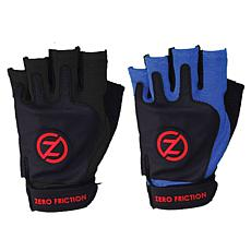 Zero Friction Men's Universal Fit Fitness Gloves 2-Pairs, Black & Blue
