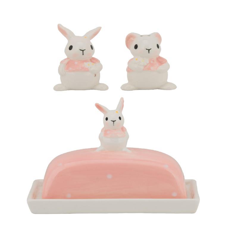 10 Strawberry Street Polka Dot Bunny Teapot and Sugar Pot Set