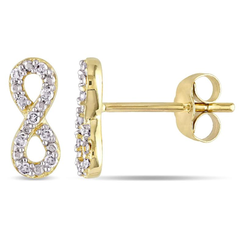 10K Diamond Infinity Stud Earrings