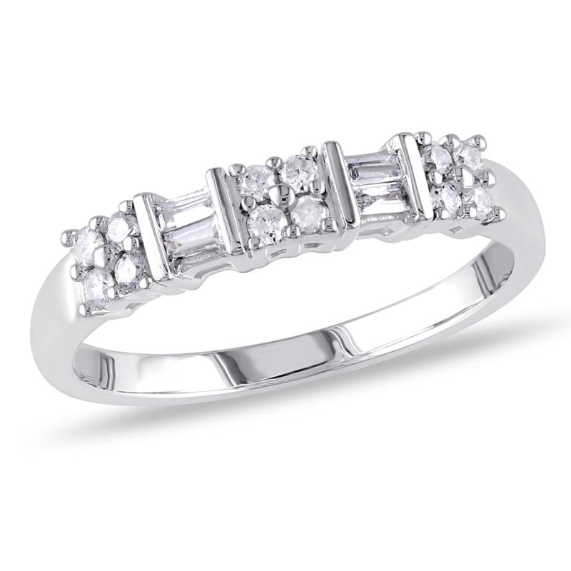 10K Gold 0.25ctw Baguette and Round Diamond Anniversary Band