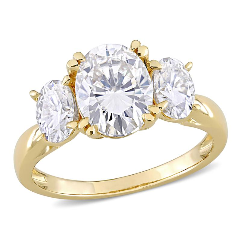 10K Gold 3ctw Moissanite Oval Three-Stone Engagement Ring