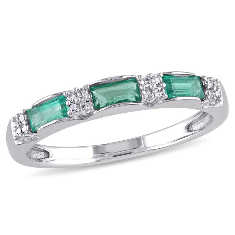 10K Gold .43ctw Diamond and Emerald Semi-Eternity Band Ring