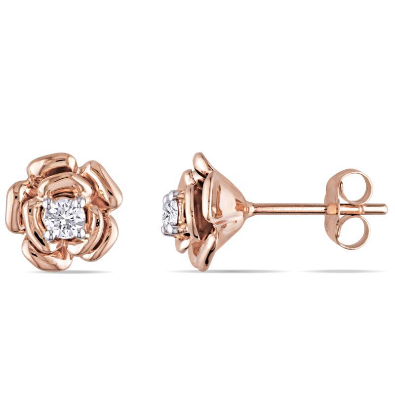 10K Rose Gold 0.2ctw Diamond Rose-Design Stud Earrings