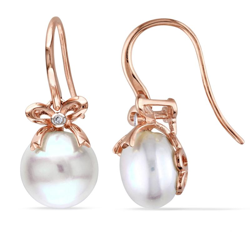 10K Rose Gold Freshwater Pearl and Diamond Bow Earrings
