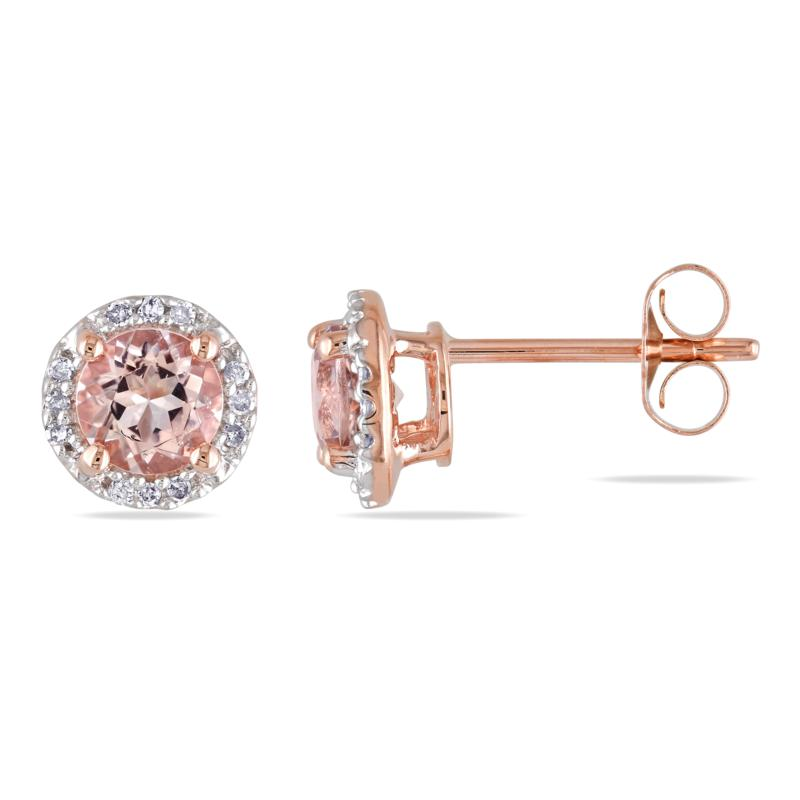 10K Rose Gold Morganite and Diamond Stud Earrings
