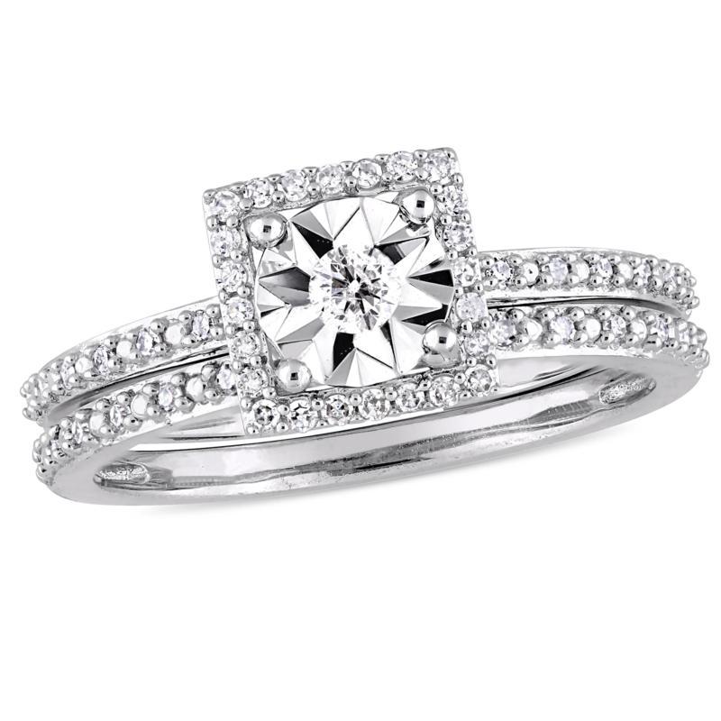 10K White Gold 0.25ctw Diamond Halo Bridal Ring Set