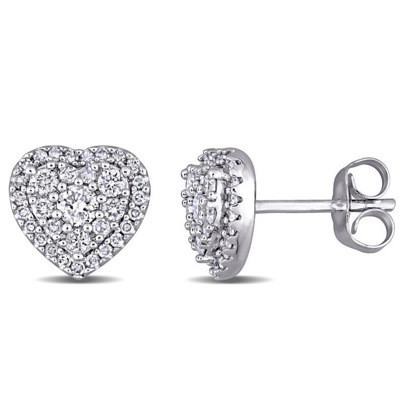 10K White Gold 0.50ctw Diamond Pavé Halo Heart Stud Earrings