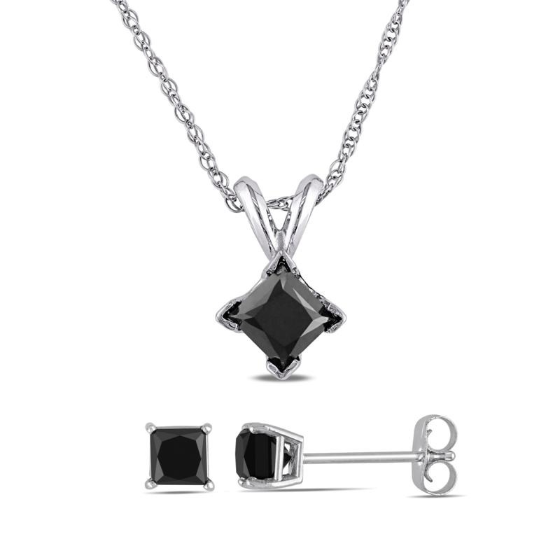 10K White Gold 1.50ctw Black Diamond Princess-Cut Earrings and Pendant