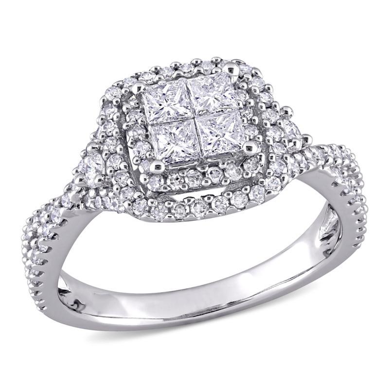 10K White Gold 1ctw Diamond Princess and Round Halo Engagement Ring