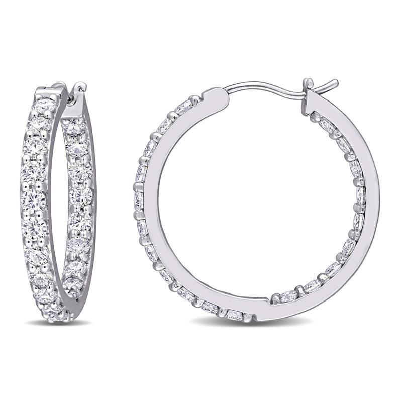 10K White Gold 2.40ctw Moissanite Round Inside-Outside Hoop Earrings