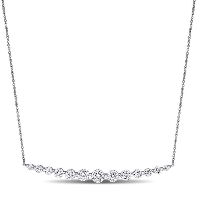 10K White Gold 2.42ctw Moissanite Graduated Bar Necklace
