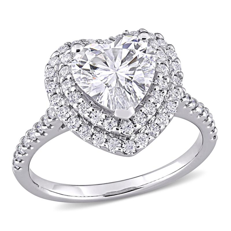 10K White Gold 2.62ctw Moissanite Heart Halo Engagement Ring