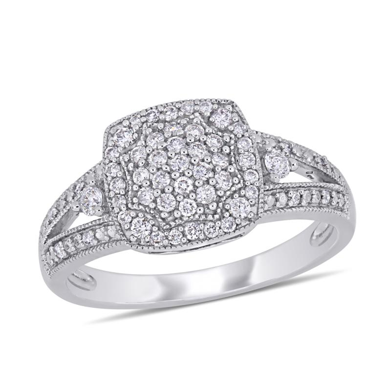 10K White Gold .35ctw Diamond Round Split-Shank Engagement Ring