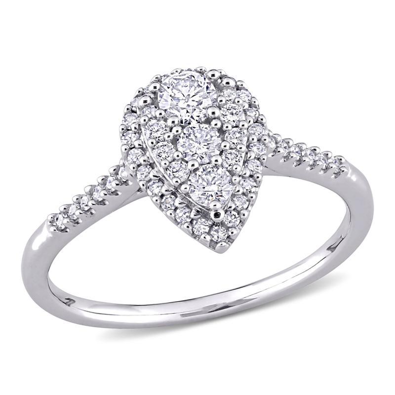 10K White Gold .5ctw Diamond Pear-Shape Cluster Halo Engagement Ring