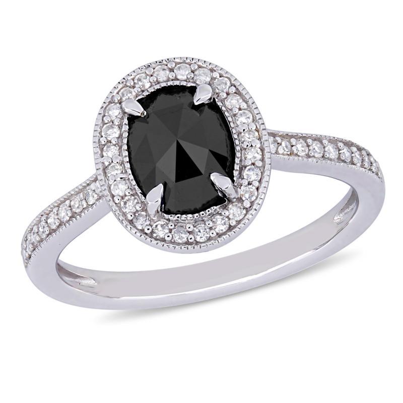 10K White Gold Black and White Diamond Halo Ring
