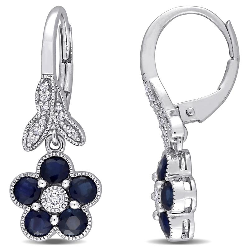 10K White Gold Diamond and Blue Sapphire Floral Leverback Earrings