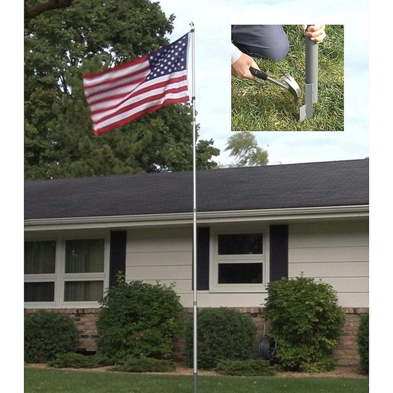 12' American Pride Flag Pole with Flag and Eagle Topper
